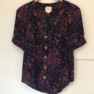 Anthropologie Maeve Floral Blouse in Navy